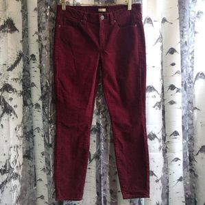 J. Crew burgandy stretch corduroy pants size 28